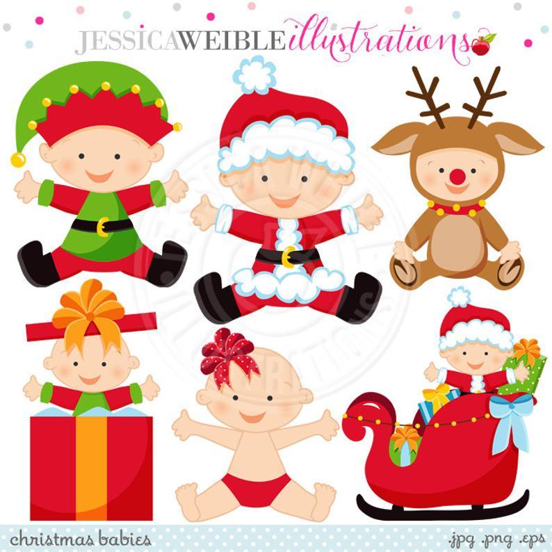Christmas Babies Cute Digital Clipart.