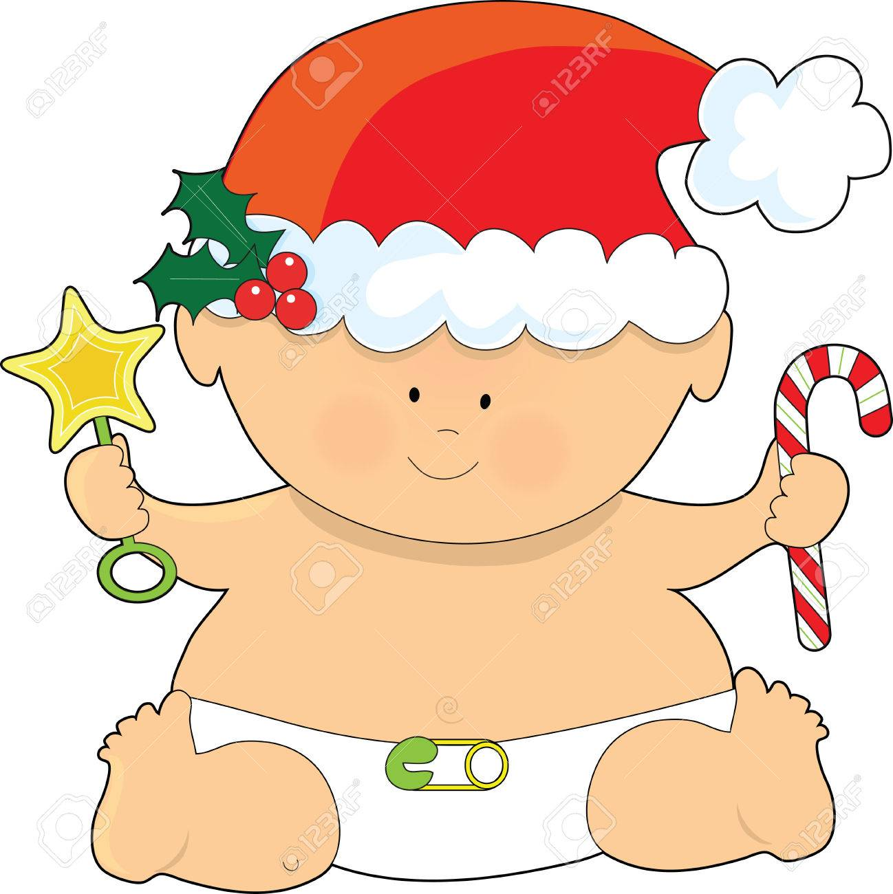 A baby dressed in a Santa hat and holding a candy cane.