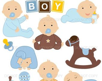 Items similar to Baby Boy Blue Baby Shower Clipart Set.