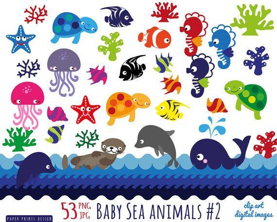 54 baby sea animals clipart, sea animals patterns clipart.