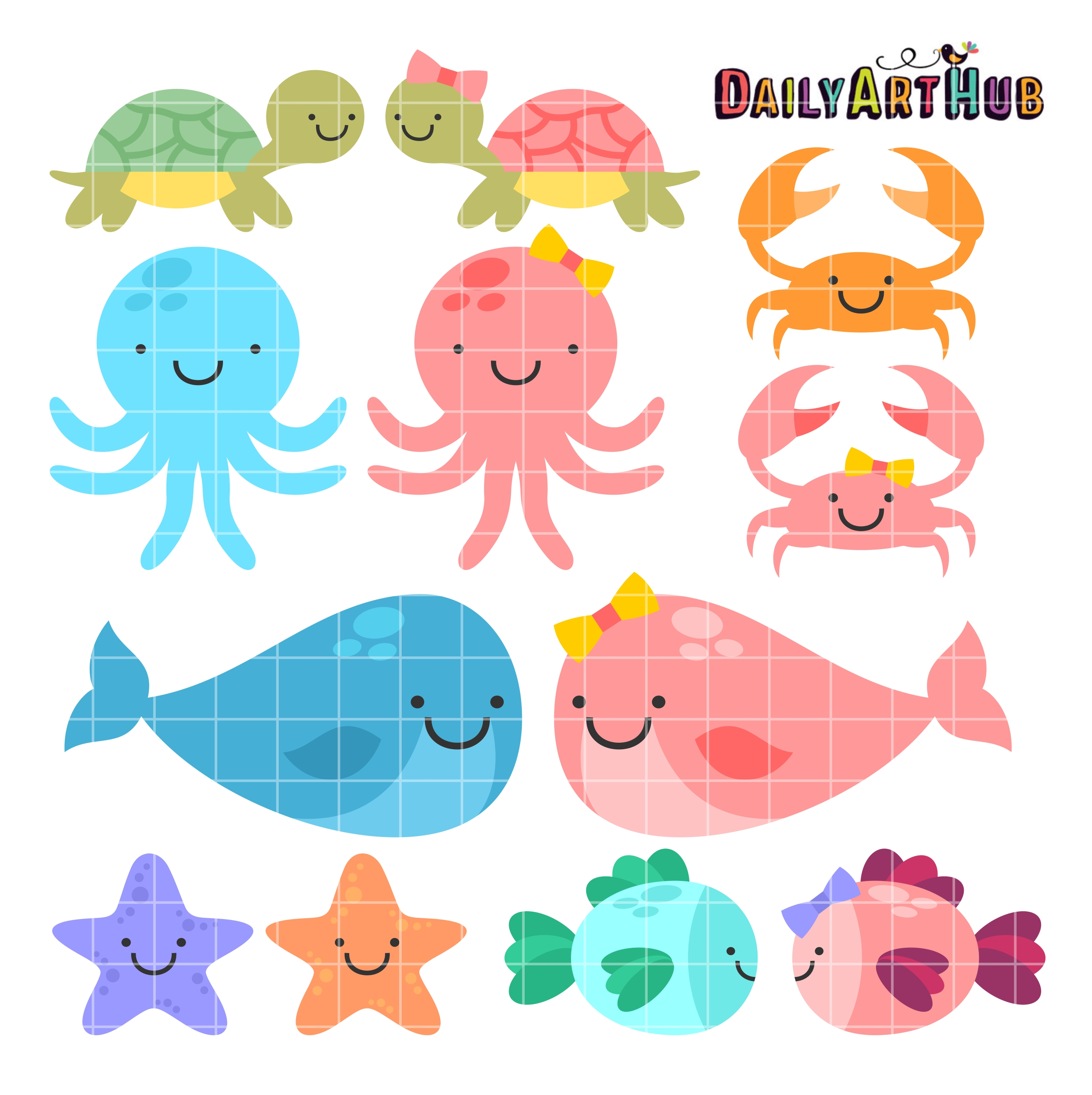 Cute Baby Sea Animals Clip Art Set.