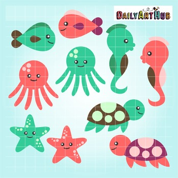 Cute Baby Sea Creatures Clip Art.
