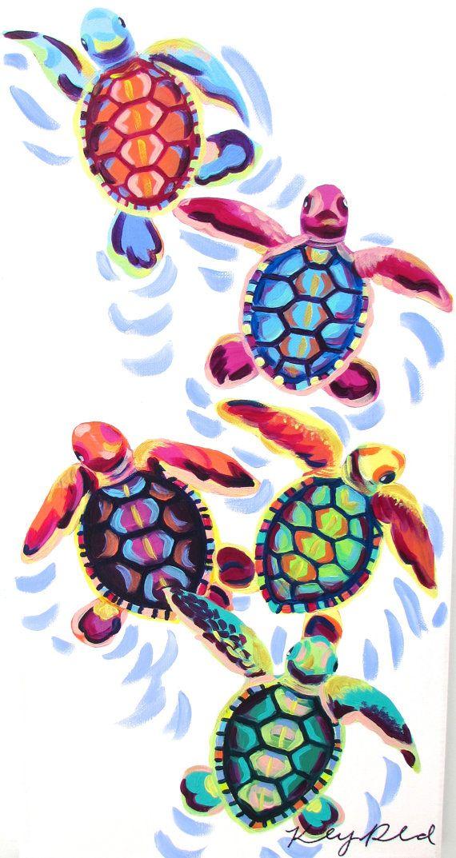 Sea Turtle Hatchlings Painting (12×24) by Kelsey Rowland.