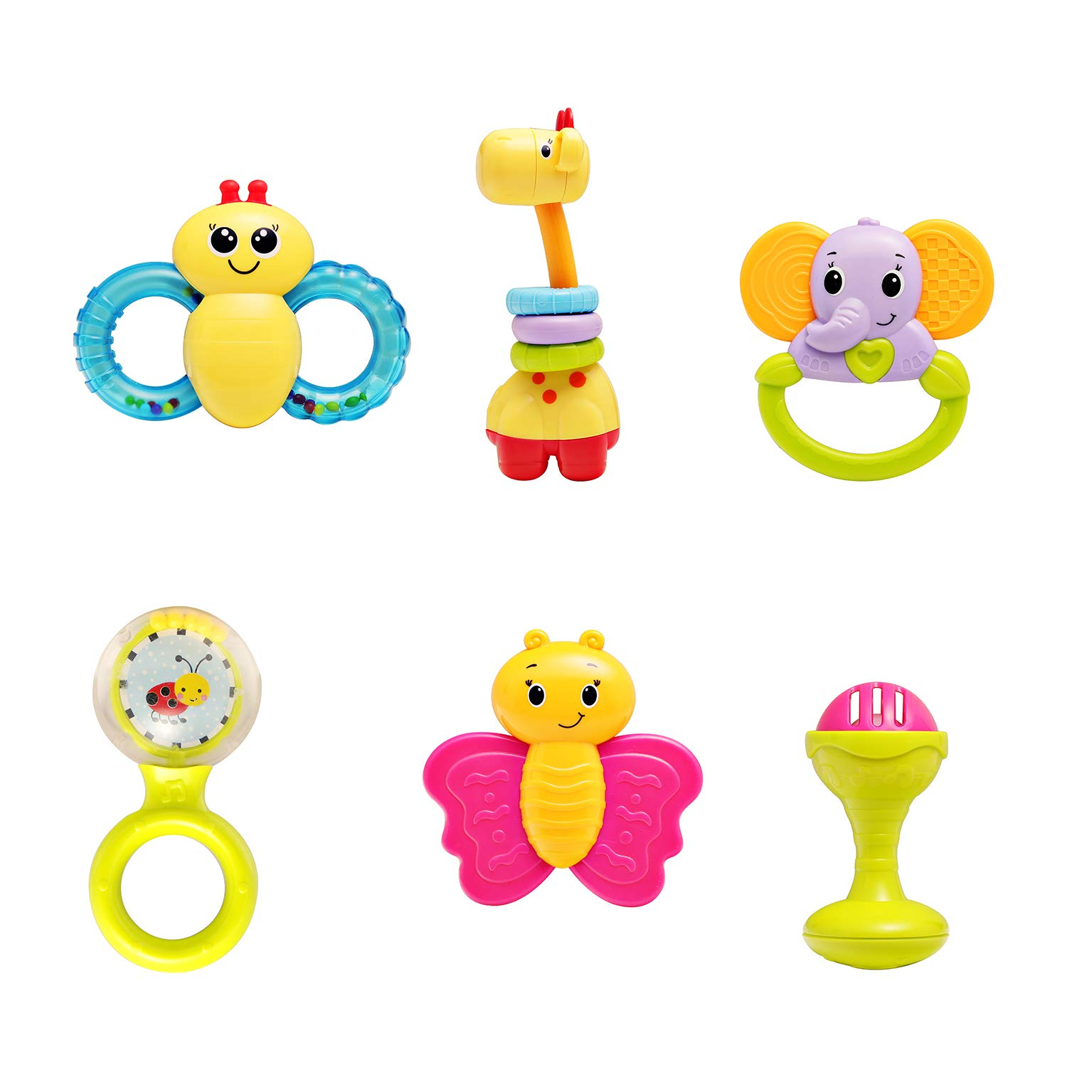 Details about infunbebe 6pcs Baby Rattles Teether Toy Grab Shaker Spin  Rattle Shaking Bell Set.