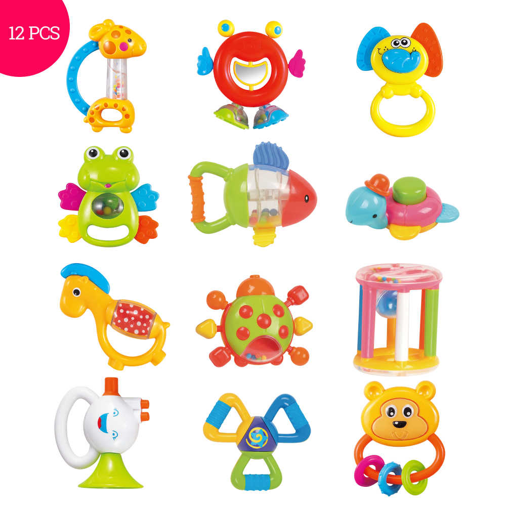 Baby Toys Plastic Hand Jingle Shaking Bell Lovely Hand Shake Bell Ring  12PCS Baby Rattles Toys Newborn 0.
