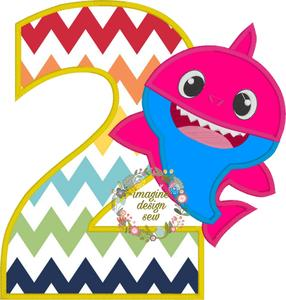 Baby Shark Birthday with number 2 Inspired machine embroidery applique  design Instant Download 5x7 6x10 7x11 8x12.