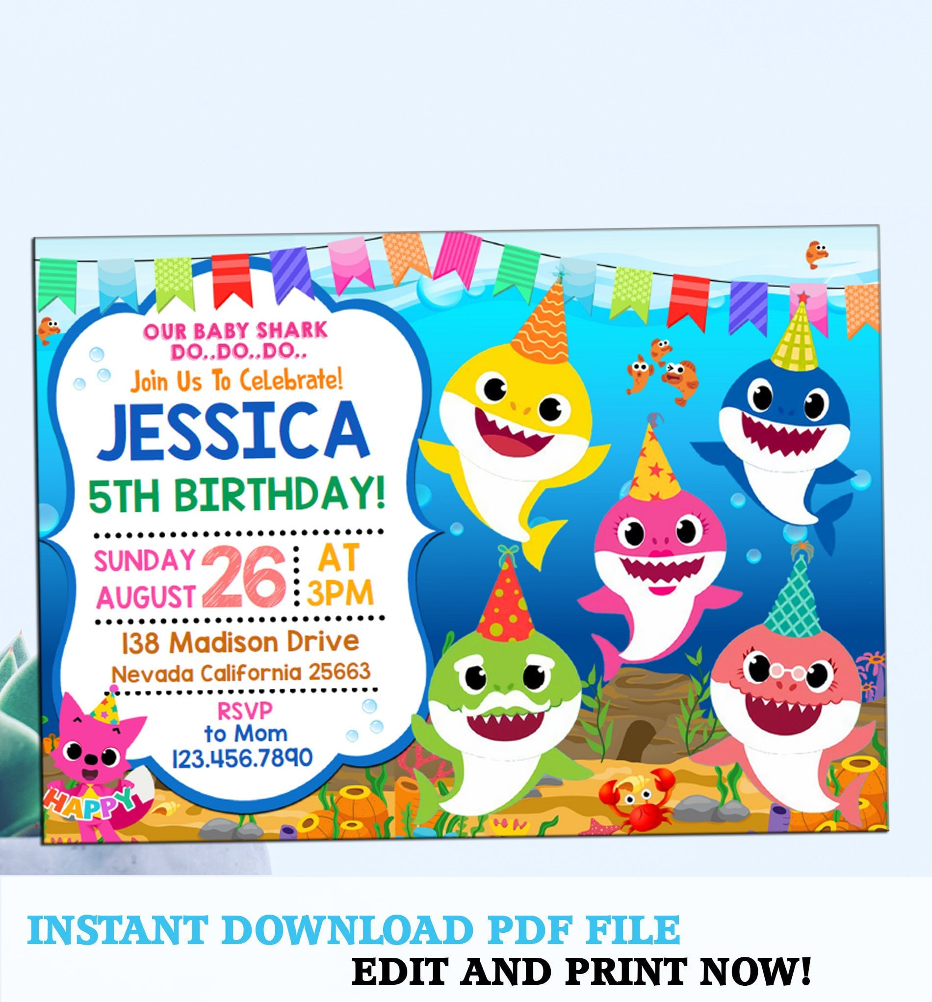 Baby Shark Party Invitation.