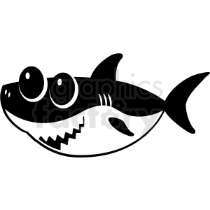 black and white baby shark cut file facing left clipart. Royalty.