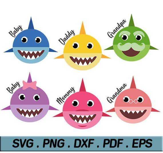 Baby shark SVG EPS PNG clip art Daddy Shark Mommy Shark.