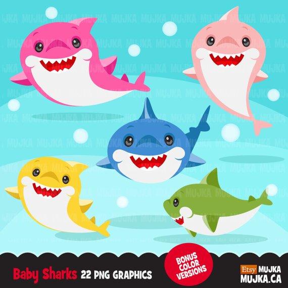 Shark clipart. Cute colorful smiling shark graphics, shark.