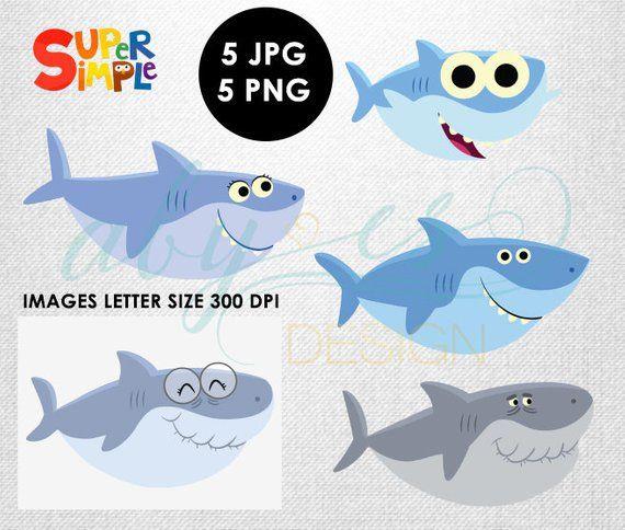 Baby shark clipart baby shark clip art Family shark simple.