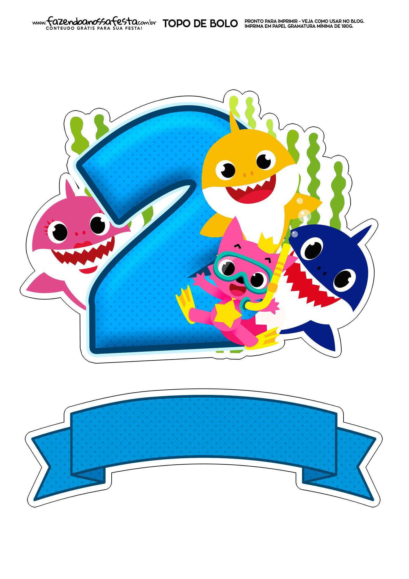 Topo de bolo Baby Shark numero 2.