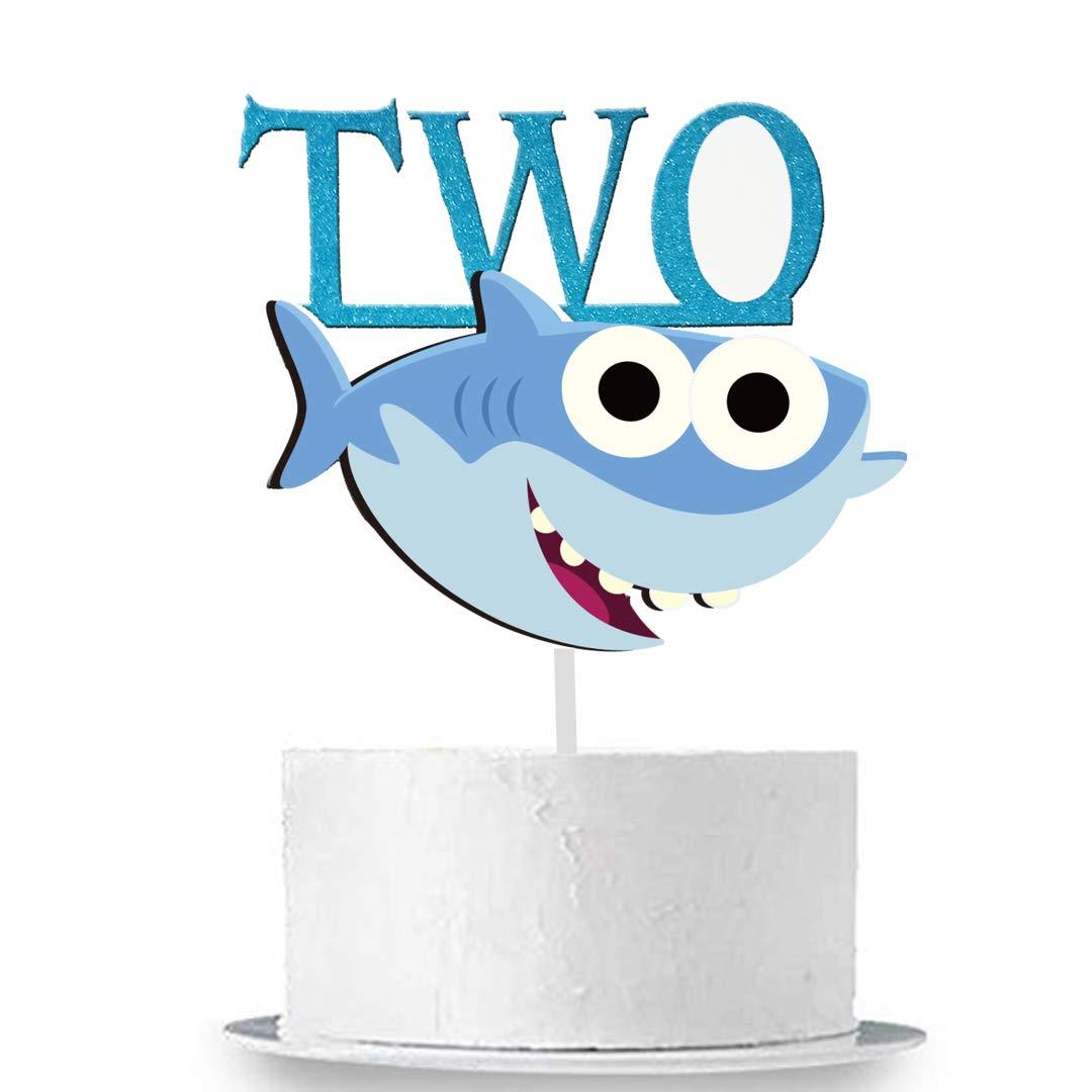 GmakCeder Shark TWO Birthday Cake Topper for Baby Shark Birthday Boy.