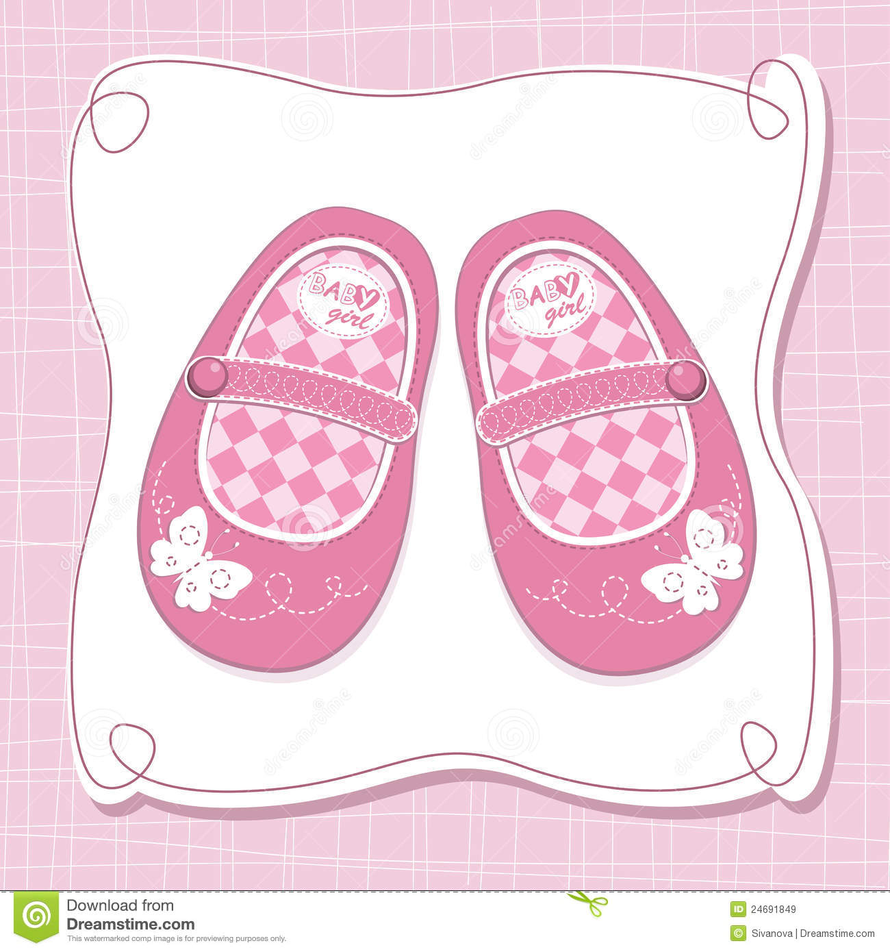Baby girl shoes clipart.