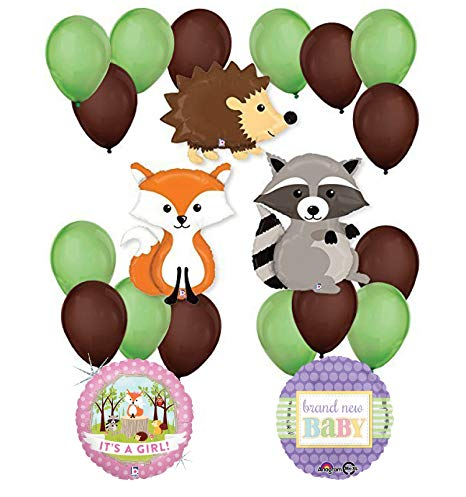Woodland Critters Creatures Baby Girl Baby Shower Party Supplies and  Balloon Decorations.