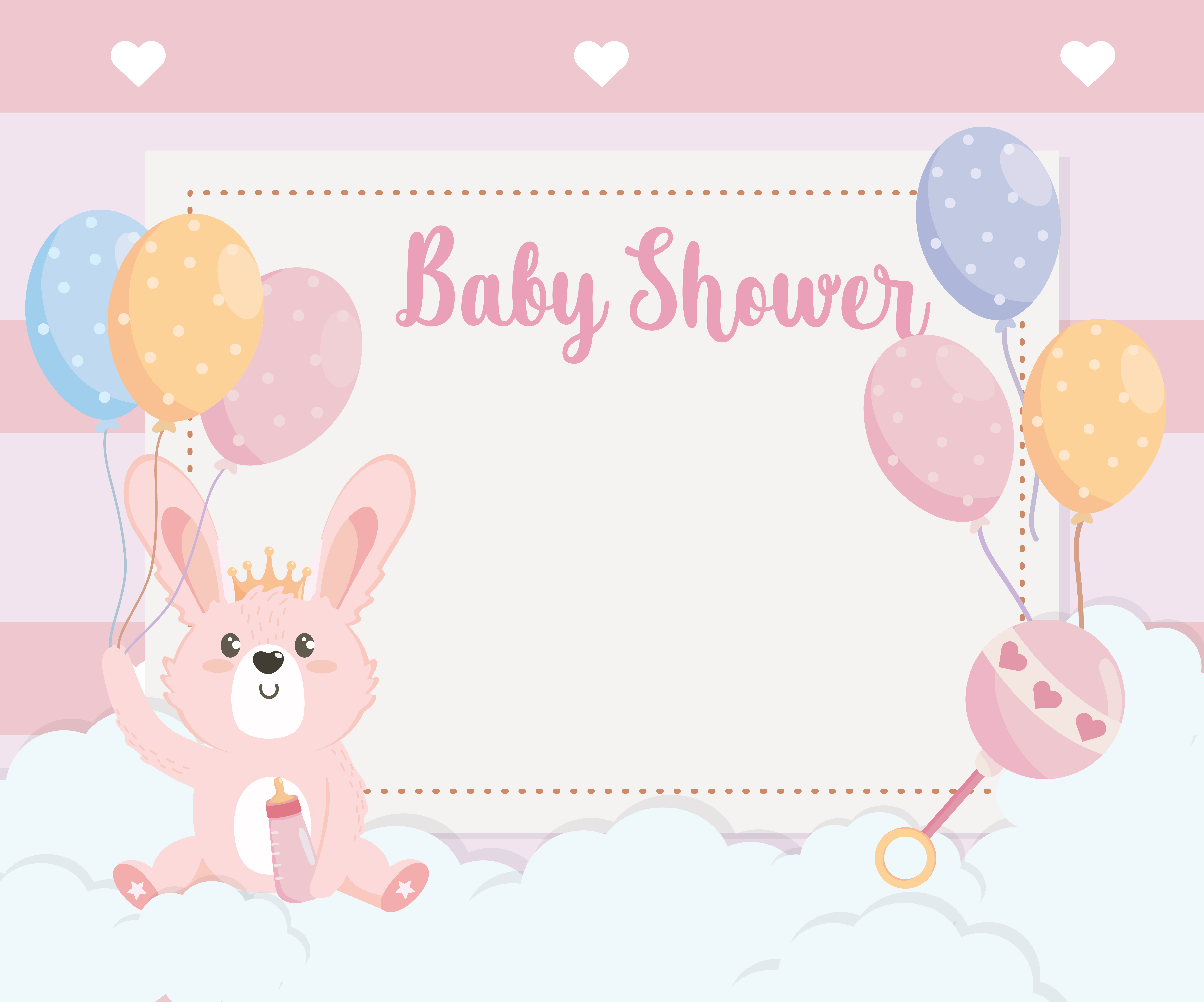 card of cute rabbit animal with balloons.