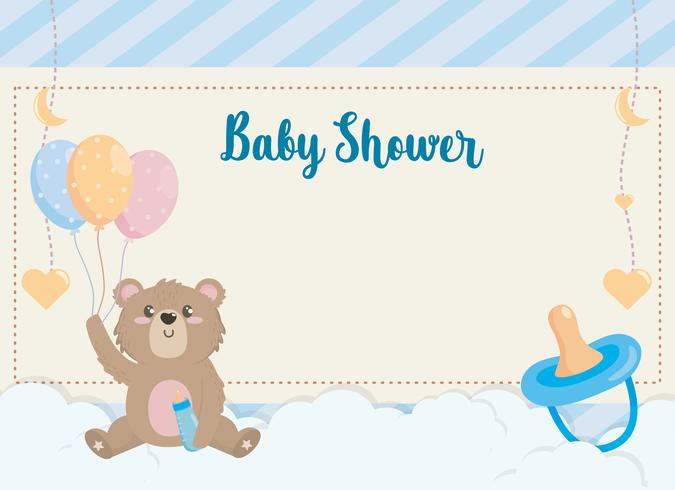 Baby shower card with teddy bear holding balloons.
