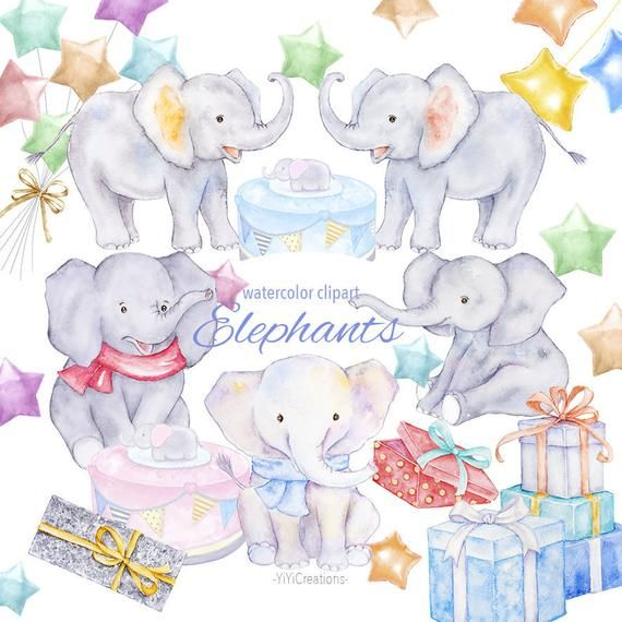 Watercolor Elephant Clipart, Digital Lovely Baby Animal Clip.