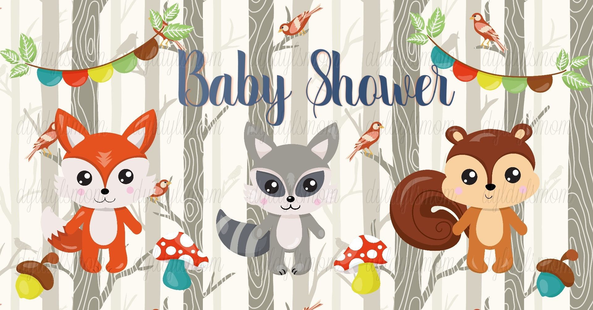 Woodland Creatures Baby Shower Facebook Event Cover Photo in.