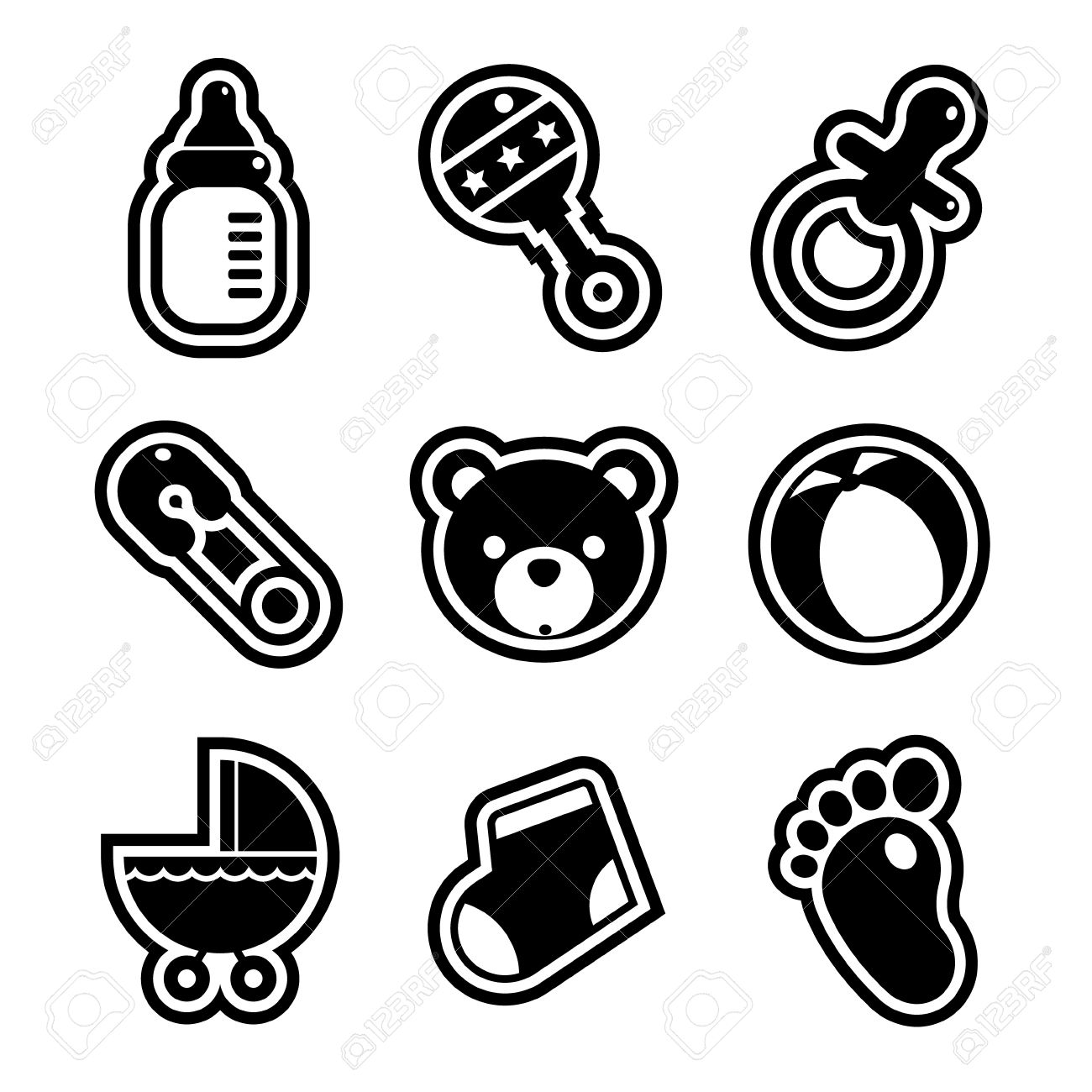 Set Of Black And White Baby Shower Icons Royalty Free Cliparts.