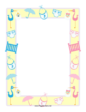 This baby shower border features a yellow frame overlaid.