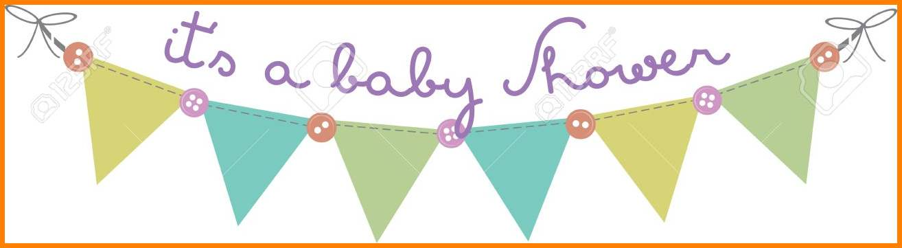 Baby Shower Banner Clip Art Flag Banner With Buttons For Baby Shower.