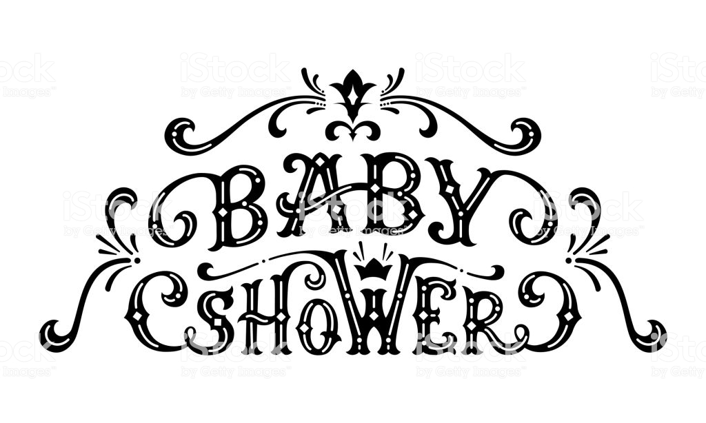Vector Baby Shower Lettering Stock Illustration.
