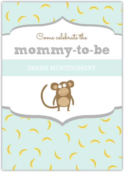 Pastel Color Monkey Baby Shower Invitation.