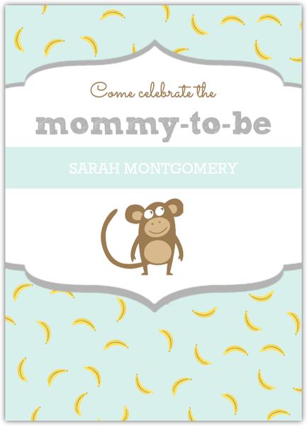 Pastel Color Monkey Baby Shower Invitation.