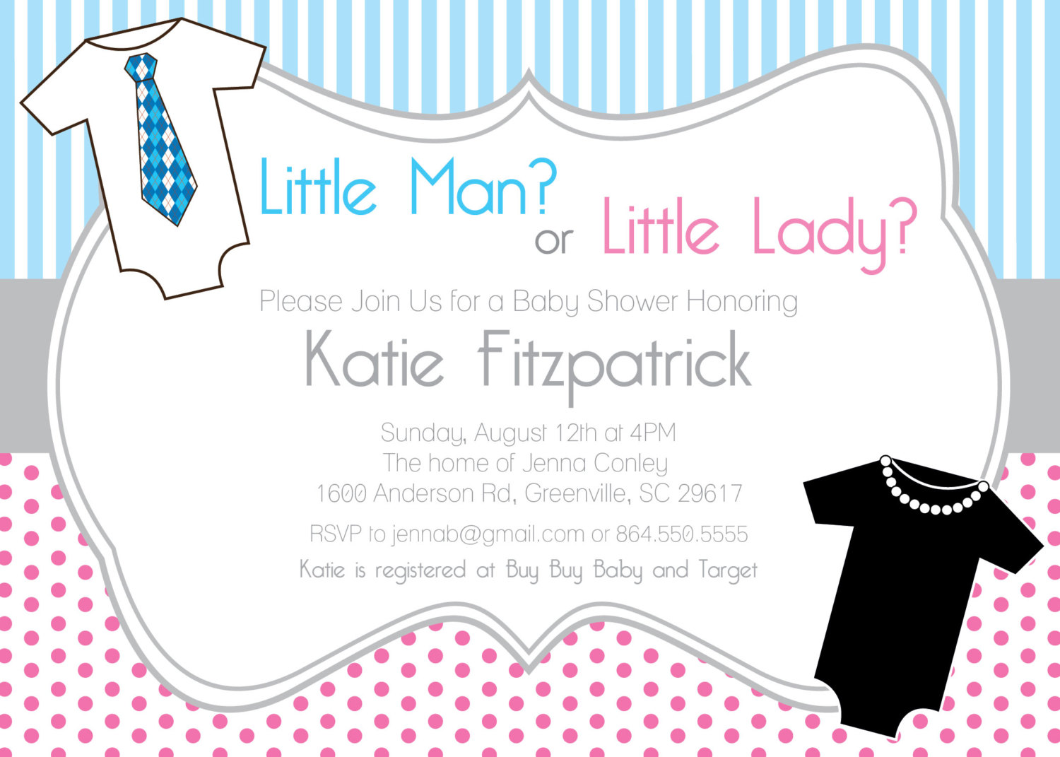 Gender Neutral Reveal Baby Shower Invitations, Printable, Little Man or  Lady, Pink and Blue, Both Sexes, One pieces, SEST OF 10 from OhCreativeOne,.