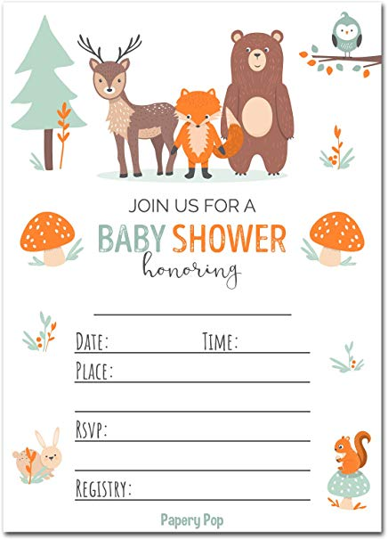 Papery Pop 30 Baby Shower Invitations for Boy or Girl with Envelopes (30  Pack).