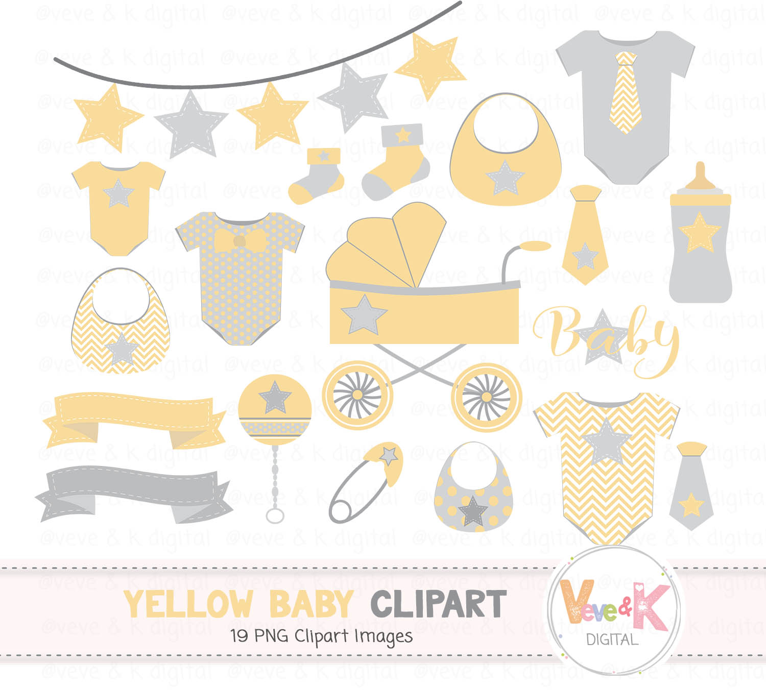Yellow Baby Clipart, Gender Neutral Baby Clipart, Baby Shower Clipart, Baby  Graphics, Yellow and Gray Baby, Baby Shower Clipart, Baby Pack.