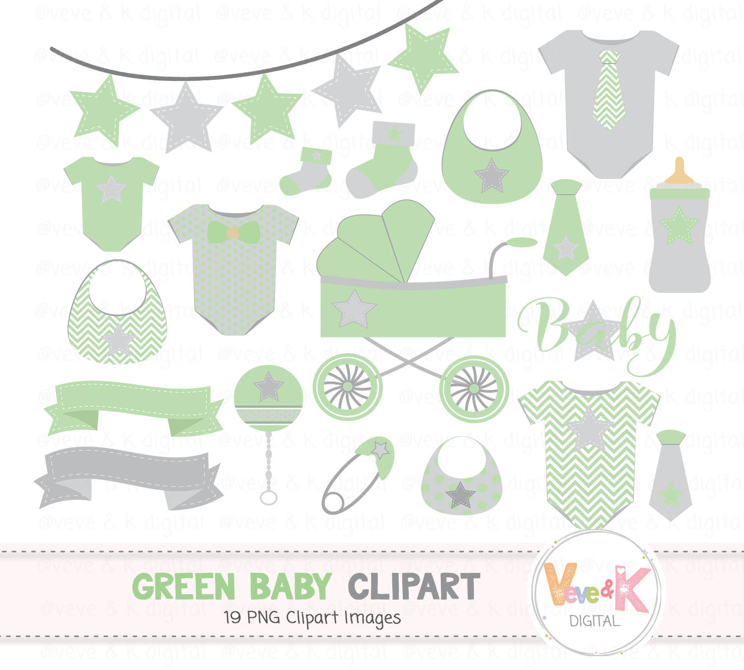Green Baby Clipart, Gender Neutral Baby Clipart, Baby Shower Clipart, Baby  Graphics, Green and Gray Baby, Baby Shower Clipart, Baby Pack.