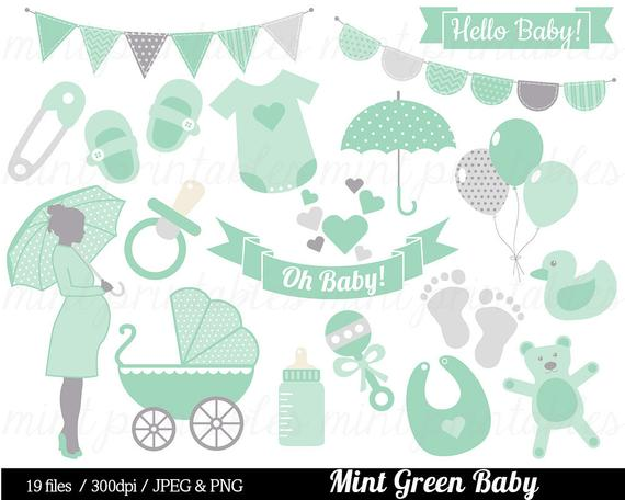 Baby Shower Clipart, Mint Green Baby Clipart, Baby Clip Art, Boy Girl  Gender Neutral, bunting.