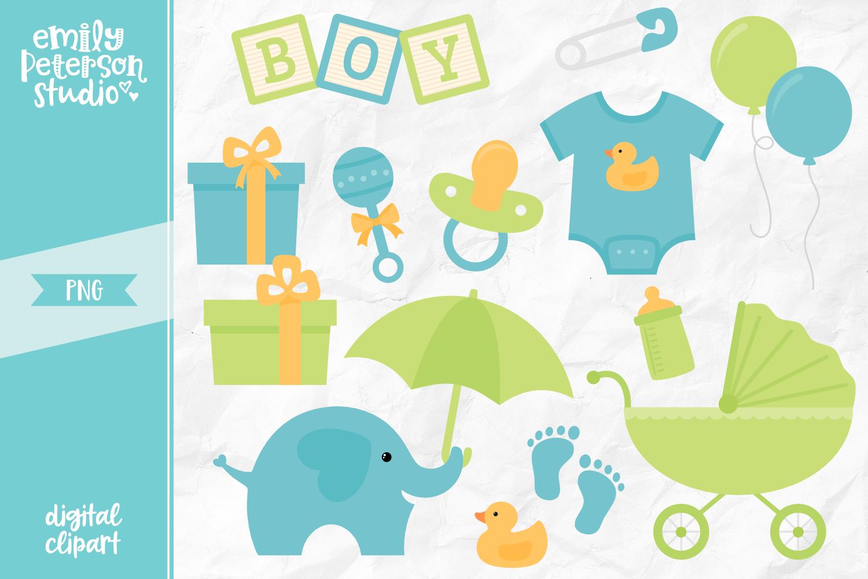 Boy Baby Shower Clipart Illustration PNG.