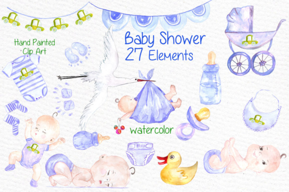 Watercolor boy baby shower clipart.