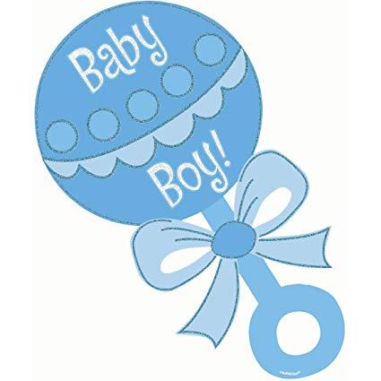 Amscan Baby Boy Rattle Glitter Cutout.