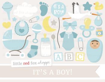 Baby Shower Clipart; New Baby, Nursery, Bottle, Stroller, Stork, Onesie, Boy.