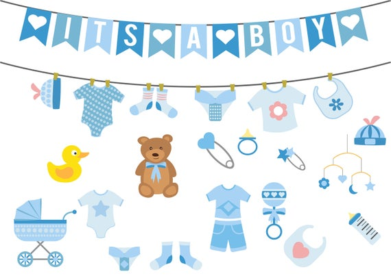 Boy baby shower clipart,baby shower clipart,commercial use,vector  graphics,digital clip art,Instant download.