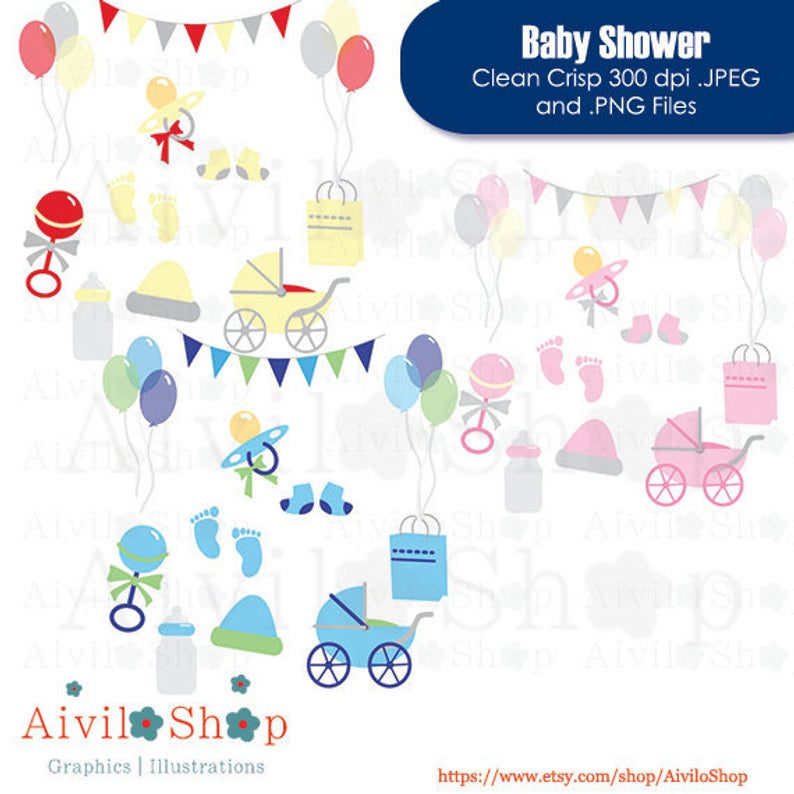 Baby Shower CLIPART Boy Girl and Neutral!! 60% OFF Stroller, pacifier,  rattle, banter, balloons, gift, socks, bottle, hat, feet transparent.
