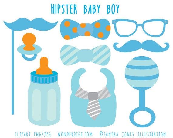 Hipster Baby Shower Clip Art.