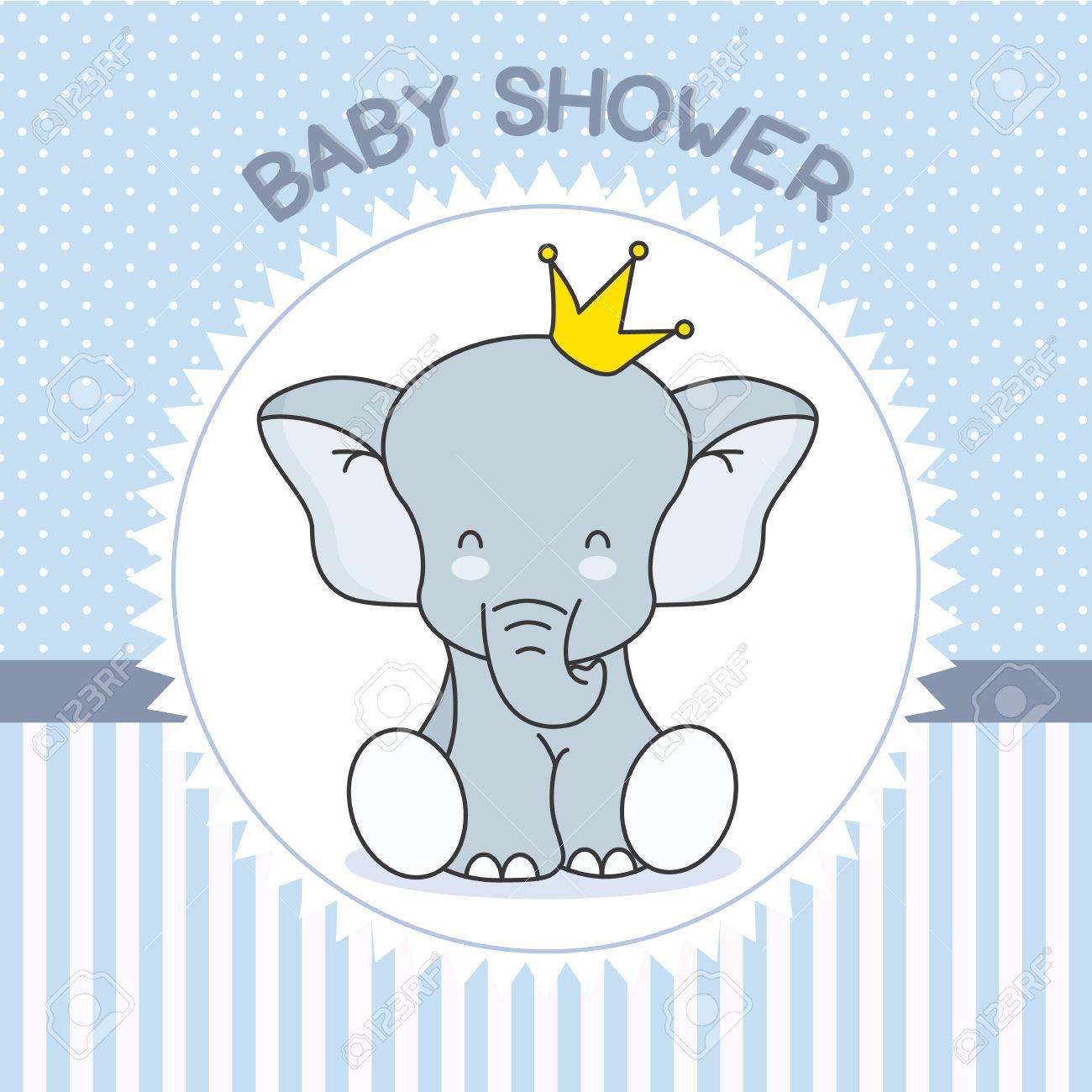 baby shower boy. Cute Elephant with crown.