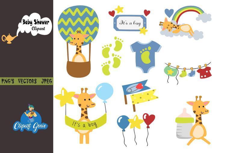 Baby shower clipart, Boy baby shower clipart, Girafee clipart, baby shower  invitation, baby feet clipart, baby footprints, baby shower party.
