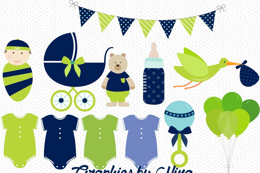 Boy Baby Shower clipart.