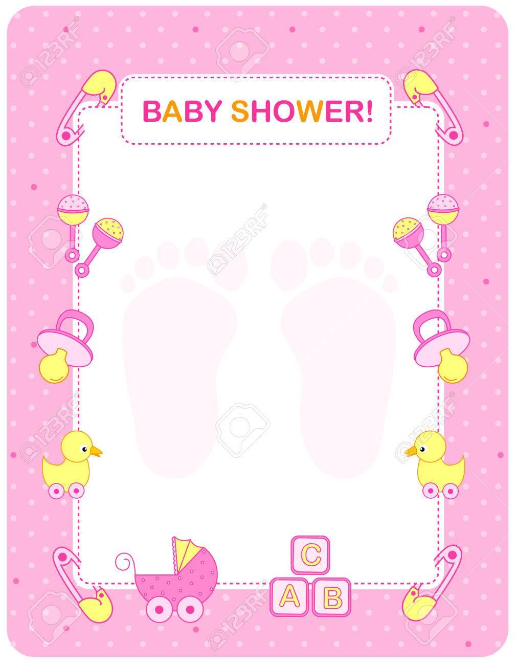 Illustration of a baby shower invitation card / border / frame...