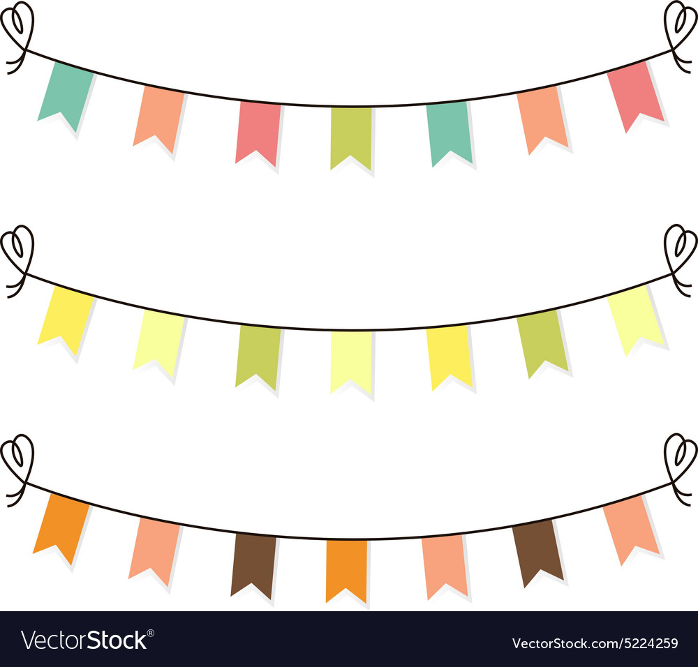 Cute flags clipart for baby shower set.
