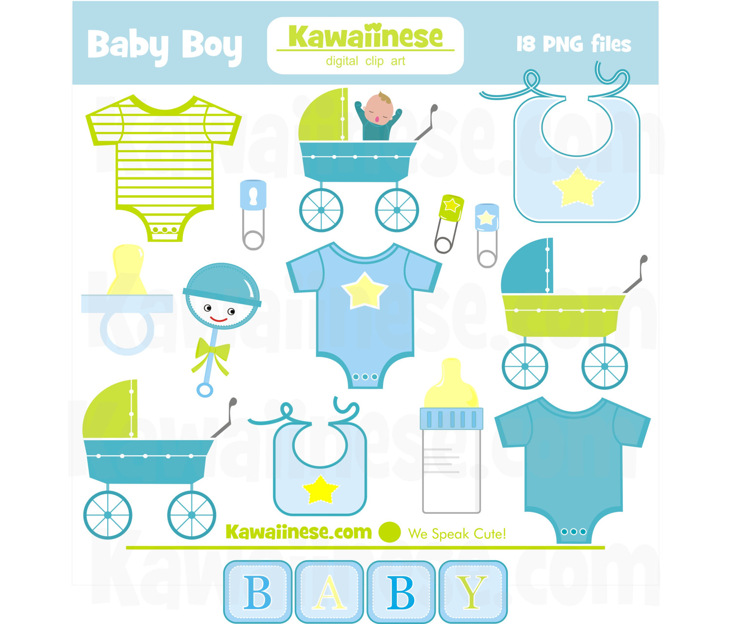 Cute Baby Boy Shower Clipart.