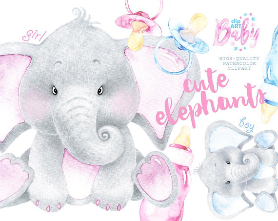 Watercolor Baby Elephant. Cute animal clipart, nursery.