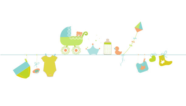Baby Shower Clothesline Illustrations, Royalty.