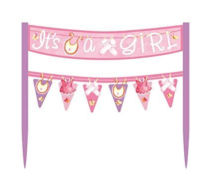 Cardboard Pink Clothesline Girl Baby Shower Cake Bunting Topper.